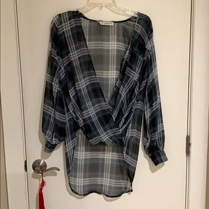 Peyton Jensen Sheer Flowy Plaid Blouse Shirt